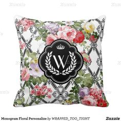 Monogram Floral Personalize Throw Pillow