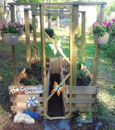 Pinterest Outdoor Garden | out of pallets is old hat on the internet, but this kids' garden ...