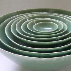 Set of Eight Nesting Lichen Ceramic Bowls $348 whitneysmith
