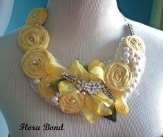 Fabric bib necklace♥