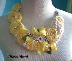 Fabric bib necklace♥