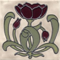 "Duquella Tile. Craftsman style Stylized Tulip Flower Trio. 6"" square. Price $48.00"