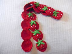 Crochet Strawberry Scarf