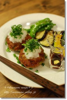 Pan-Fried Japanese Chicken Meatballs Topped with Grated Daikon White Radish
