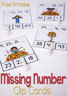 FREE Missing Number Clip Cards for Kindergarten Fun Math, Math Games, Preschool Activities, Multiplication Games, Math Stations, Math Centers, Math Classroom, Kindergarten Math, Missing Number