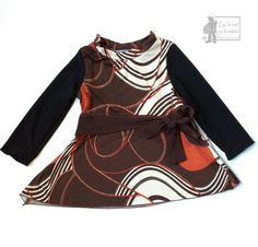 1 to 2 years Upcycled dress long sleeves children clothing eco-fashion ge la pied sur la pedale