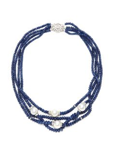 Nini Sapphire, Pearl, & Diamond Multi-Strand Necklace by Tara Compton