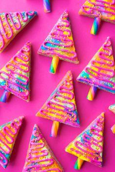 Technicolor Christmas Tree Cookie Bars