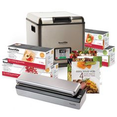 SousVide Supreme Deluxe Promo Pack - This great value deluxe promo package includes everything you need to start cooking sous vide today and more, including the SousVide Supreme water oven, Sous Vide Vacuum Sealer VS3000, pouches (1 box - quart and 1 box - gallon), zip pouches (1 box - quart and 1 box - gallon) and Easy Sous Vide cookbook, all 5 cookbooks from our collection. FREE SHIPPING within mainland US.