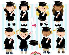 Posgrado niños y niñas de graduación fiesta Clipart Clip art /