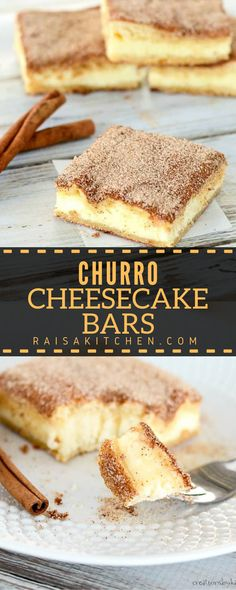 Churro Cheesecake Bars . . . the crunchy cinnamony goodness of a churro filled with a tangy cream cheese filling. The best of two desserts rolled into one!