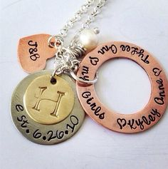 Hand Stamped Anniversary Mixed Metal Charm Family Necklace  on Etsy, $72.00