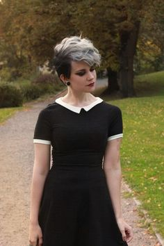 With a Pixie Cut - Could You Rock Granny Hair? These Grey-Hair . Black Girl Short Hairstyles, Pretty Hairstyles, Short Hair Cuts, Pixie Cuts, Pixie Hairstyles, Pixie Cut Color, Shaved Pixie Cut, Emo Haircuts, Shaved Hairstyles