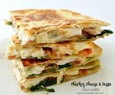 Chicken Cheese and Pesto Quesadilla...use low carb tortillas or cauliflower crust