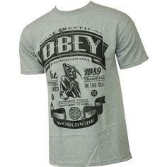 Obey Clothing Mens Shirt Authentic Reaper Heather Grey found on Polyvore
