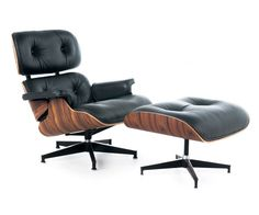 Rove Lounge Chair with Ottoman - Modena Black + Rosewood. These guys make the best knock-off as far as I can tell. Don't want to skimp on this.