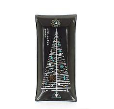 Vintage Christmas Houze Bent Glass Tray Mid Century Modern Ashtray Smoked Glass Turquoise Gold White Christmas Tree