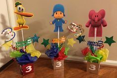 Figuras Pocoyo trío por KristiesPartiesToGo en Etsy