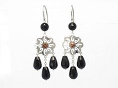 $54.90 Silver and onyx earrings