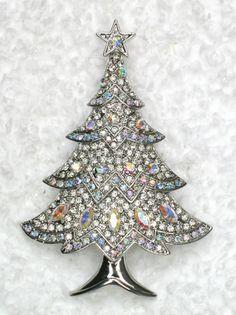 Gorgeous Clear AB Rhinestone Crystal Christmas Tree Pin Brooch