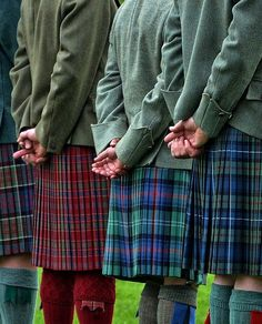 Kilts at Highland games.. Aberdeen City & Shire, Scotland. The pleats and the tartan sett on the kilt, second from the left, are PERFECT- One of the finest made kilts I have seen.