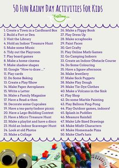 50 Fun Rainy Day Activities For Kids Checklist - Rain got you cooped up inside again? Looking for rainy day activities for kids? Fear not, we have a - Rainy Day Activities For Kids, Rainy Day Fun, Toddler Activities, Fun Activities, Outdoor Activities, Rainy Day Crafts, Babysitting Activities For Boys Indoor Games, Babysitting Games, Indoor Family Activities