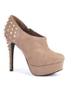 Light Brown Stud Heel Platform Shoe Boots