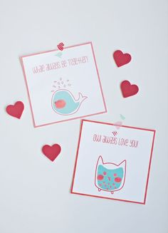 """FREE PRINTABLE  Valentine Whale and Owl Cards. These 5"""" x 5"""" cards also make cute wall prints!"""