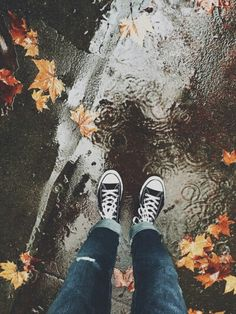 Sometimes when I see leaves on the ground, I think of confetti  it makes me smile no matter if it's raining