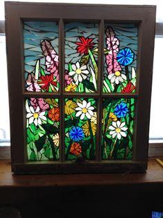 """Flower Garden"" - mosaic by Niagara Glass Mosaics, via Delphi Artist Gallery Mosaic Flowers, Stained Glass Flowers, Faux Stained Glass, Stained Glass Projects, Stained Glass Patterns, Stained Glass Windows, Mosaic Patterns, Mirror Mosaic, Mosaic Art"