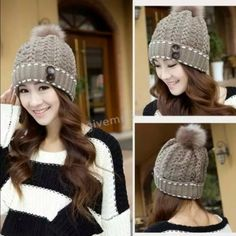 BROWN WINTER HAT Winter Hat Female Knitted Hat Winter Wool Hat Rabbit Fur Ball Knitted Warm Hats For Women Other
