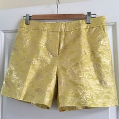 Leifsdottir Brocade Dress Shorts Lined Gold Sz 6 4 Shorts by Leifsdottir, tailored & higher quality brand by Anthropologie. Shorts are a great alternative to skirts  Perfect pre-owned condition  No stain, No rip, No snag Clean and ready to wear (dry clean tag still attached)  Beautiful brocade fabric, yellow & gold Lined Button & hook closure 2 front pockets Mid rise Tag size 6 but recommended for 4  Outer: 56% Rayon, 22% Nylon, 22% Lurex Lining: 100% Acetate  Measurements taken flat: Across…