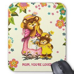 For Mom on Mother's Day.  Mother's Day Custom Gift Mousepads for Mom with a restored vintage Sweet Bear Family postcard image. Matching cards and other products available in the Holiday / Mother's Day / Vintage Postcard Category of the oldandclassic store at zazzle.com