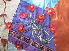 Ramo silvestre. Crazy Quilt. Bordado a mano por Carolina Gana. Taller de Bordado Rococó. Santiago de Chile.