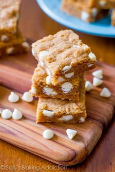 Biscoff White Chocolate Blondies. The BEST blondies I've ever had.  They trick is to use an extra egg yolk and melted butter to make them extra chewy!