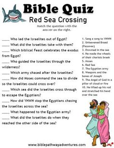 Enjoy our free Bible Quiz: Red Sea Crossing. Fun for kids to print and test their knowledge. Free homeschool resources and activities! Sunday School Teacher, Sunday School Activities, Bible Activities, Sunday School Lessons, Sunday School Crafts, Bible Games, Church Activities, School Staff, Bible Lessons For Kids