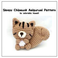 Sleepy Chipmunk Amigurumi  PDF Crochet Pattern by adorablykawaii