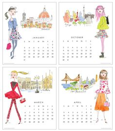 Illustration for gift, stationery, home decor and publishing. Seasons Months, Fashion Sketches, Girl Boss, Fashion Art, Print Design, Art Drawings, Calendar, Illustration Art, Stationery