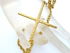 """Vintage Large Cross Necklace Pendant Hammered 26"""" Long Religious Estate Jewelry 