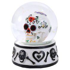 Black Day of The Dead White Sugar Skull Water Globe Decorative Figurine 80mm - My Sugar Skulls