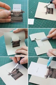 """Pop Goes the DIY Pop-Up Name Card 3 cute pop up cards. tutorial and printable """"Pop Goes the DIY Pop-Up Name Card 3d Cards, Pop Up Cards, Name Cards, Kirigami, Tarjetas Diy, Tarjetas Pop Up, Libros Pop-up, Paper Pop, Card Tutorials"""