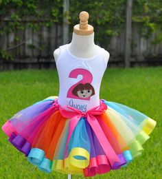 Rainbow Ribbons Dora Birthday Elegance Tutu Set this is what ava's out fit will look like when im done cant wait!