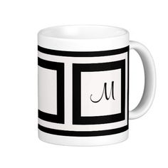 Black and White Monogram Mugs...... http://www.zazzle.com/black_and_white_monogram_mugs-168063525902488786?rf=238631258595245556