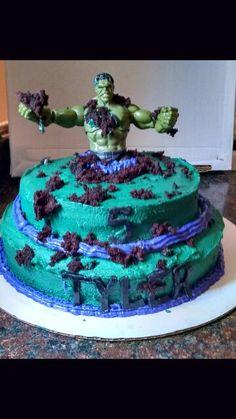 Hulk Smash homemade cake My little superhero was very happy