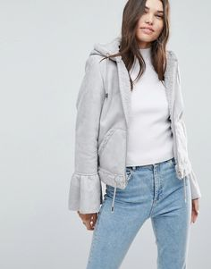 ASOS Cropped Jacket in Faux Leather with Flute Sleeve - Gray