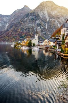 An autumn evening view of Hallstatt near Salzburg, Austria.