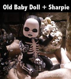 Halloween Doll, Halloween Projects, Diy Halloween Decorations, Holidays Halloween, Halloween Party, Cheap Halloween, Scary Baby Dolls, Creepy Dolls, Creepy Kids