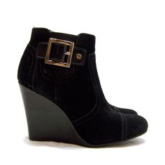 Tory Burch Black Suede Adrienne Wedge Bootie Size 5.5 Gold #ToryBurch #AnkleBoots #Casual
