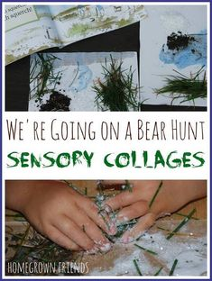 What a clever way to explore the book! Love these Bear Hunt Sensory Collages! Forest School Activities, Sensory Activities, Classroom Activities, Preschool Activities, Prek Literacy, Camping Activities, Sensory Bins, Preschool Classroom, Sensory Play