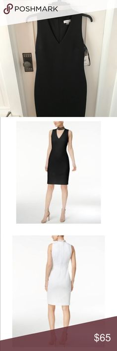 "Calvin Klein Studded Mock-Neck Sheath Dress💯❤️ PRODUCT DETAILS A stud embellished choker neck adds an on-trend detail to this V-neck scuba dress. Back zip closure. Stud embellishments. Approx. 39"" length (size 2). Calvin Klein Dresses Midi"
